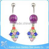 China manufacturer belly bar hanging mutil color gems belly button ring body jewelry