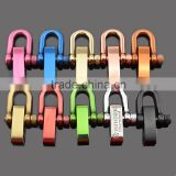 colorful stainless steel U shaped adjustable shackle with 4 holes for paracord bracelets