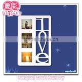wood wall decorative white or colorful photo frame (manufacturer specialized in wood Art/crafts )