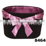 Round storage woven basket with ribbon(gift container box, paper box, package box, gift box)