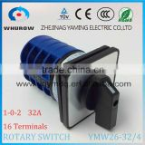 Yaming Cam switch YMW26-32/4 High quality changeover rotary switch 32A 690V 3 positons 4 stages 16 terminals sliver contact
