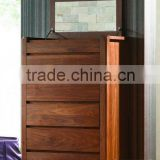 Modern wooden 5 drawer chest with built-in mirror