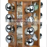 Bamboo kitchen spice rack