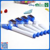 Wholesale promotional plastic whiteboard marker pen with white brush and maganet