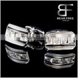Men's Fashion Jewelry Enamel Cufflinks White Steel Plating Cubic Zirconia Pave Setting