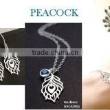 Trendy metal silver peacock neckalce with earrings and bracelet jewelry set ,Customized Colors or LOGO and OEM design accept