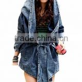New Fashion Cool Women Lady Denim Trench Coat Hoodie Hooded Outerwear Jean Jacket