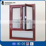 ROGENILAN 568 series professional wood clading aluminum hinged window double glazing
