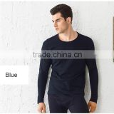 wholesale round neck mens long johns thermal underwear 100% cotton white navy gray with shirt and pant