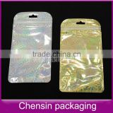 hair/card cases/jewelry/tools/handbags/guangzhou natural bag/silver poly packaging bag with zipper and hanger