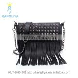 Ladies genuine leather handbag, rivet decoration shoulder bag, guangzhou factory long fringe bags