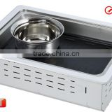 stainless steel electric Pan grill steam hot pot and Teppanyaki bbq grill GEF-2000UCT