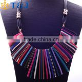 >>>New Arrival Design Charm Luxurious Fashion Necklace Plastic Colorful And Chunky Leather Rope Choker Necklace/