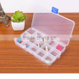 Transparent Clear Plastic PP Storage Box Packaging Boxes Cases For Jewelry Pills Candy 15 Grid Organizer Box
