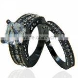 Vintage Lovers Ring Designs Wide Large Zircon Stone Gunblack Plated Wedding Bands