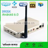 amlogic s905x A3 tv box 2g+16g top configure 4K*2K dualband 2.4GHZ/5GHZ wifi