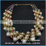 Hot gift! Charms luxury bohemian bib collar colorful pearl beads new fashion pendant necklace
