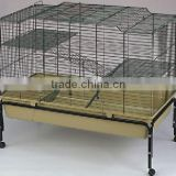 Double yellow wire large rabbit breeding cage with foundation