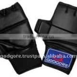 Elastic Velcro Closure EVA Padding Better Protection Black Leather Cut Finger MMA Boxing Gloves