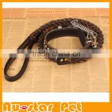 High Quality Customized Braided Leather Dog Leashes for Medium or Large Dogs, Genuine Leather Pet Collars and Leashes