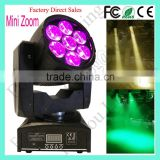 Wholesale 7pcs 15 Watt Mini Beam Wash Zoom 7pcsx 15W RGBW QUAD LED Moving Head Stage Light