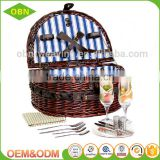 Handwoven eco-friendly cheap antique mini wicker oval picnic basket for 2 persons