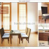 Water hyacinth Dining set, dining table and dining chair frame wooden and glass for table