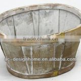 BROWN WASH OVAL BAMBOO CHIP BASKET