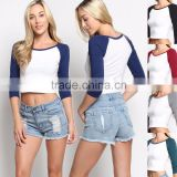 Wholesale Icing Raglan Shirts Ladies Baseball Raglan 3/4 Sleeve T-Shirt Stretch Cotton Tee Cheap Raglan Shirts