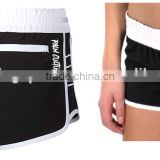 Womens black with white waistband polyester 4 way stretch with embroidered logo on front left leg and back pocket board shorts