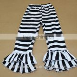 Latest Designs White And Black Stripes Breathable Fashion Cake Ruffle Baby Casual lcing Yoga Pants