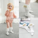 Girls Kids Lace socks long For Children Cute Cotton Knee high school sock with bow Girl Spring Autumn solid princess white black