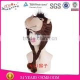 Fashion custom animal hats with paws plush animal head hat