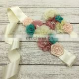 Rustic Flower Sash Headband Sets Beaded Vintage Pearl Floral Crown For Preemie Dress Photo Prop