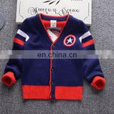 Boys New fashion 100%cotton round neck boys sweaters cardigan