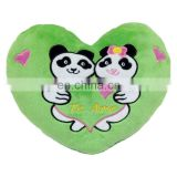Custom Heart Shape Bedding Pillow Green Panda Couple Throw Pillows