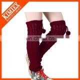 Winter lady knitted acrylic leg warmers with pompom