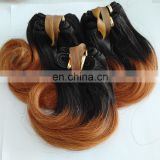 Factory Wholesale Natural Black 1B 30 Straight Hair Two Tone Ombre Colored Brazilian Remy Hair Weaves