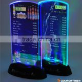 Customized vertical double sided stand up clear LED table tent menu holder manufacturer