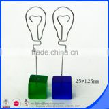 Five color place card holder of cube base lightbulb clip                                                                         Quality Choice
