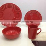 16pcs chian stoneware with plate bowl and mugs china dinnerware set with solid red colorrice hush table with colored box