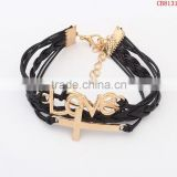 CB8131 men' hot sale braided friendship bracelet cross ,love leather bracelet jewelry from china