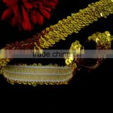 New Design Gold Color Handmade Sequins Trim For Dress