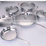 Hot sale in U.S.A 304 Stainless Steel Cookware pot set with casting handle s/s lid for wholesale