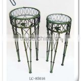 LC-85016 Antique bamboo style round wrought iron metal plant stand