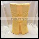 nantong hotel textile polyester chair cover for wedding/back fancy design wedding chair cover