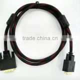 Gold-plated DVI-D to DVI-D male to male adapter cable 5FT double circular shielding black and red nylon