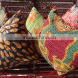 Handmade vintage kantha cushion cover set made from old fabric , Cotton pillow covers with kantha work, bohemian