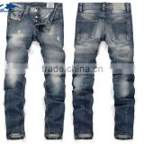Fashion Stylish Men's Designed Straight Regular Fit Trousers Casual Jean Plaid Pants JeansTrousers