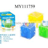 Popular item!! transparent plastic money puzzle box plastic puzzle gift boxes money maze bank 3colors mixed